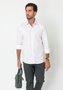 Camisa Social Manga Longa Slim Fit Branco-Rosa