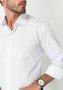 Camisa Social Manga Longa Slim Fit Branco-Verde