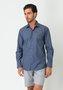 Camisa Social Manga Longa Slim Fit Maquineta Azul Marinho