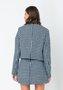 Casaco de Tweed Feminino Lã Xadrez Azul