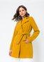 Casaco Feminino Lã Transpassado com Cinto Amarelo Mostarda