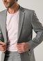 Costume Slim Masculino Lapela Fina 2 Botões Cinza-Kaki
