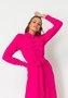 Vestido Chemise Midi com Bolsos Rosa Pink