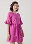 Vestido Curto Amplo Manga Flare Rosa Pink